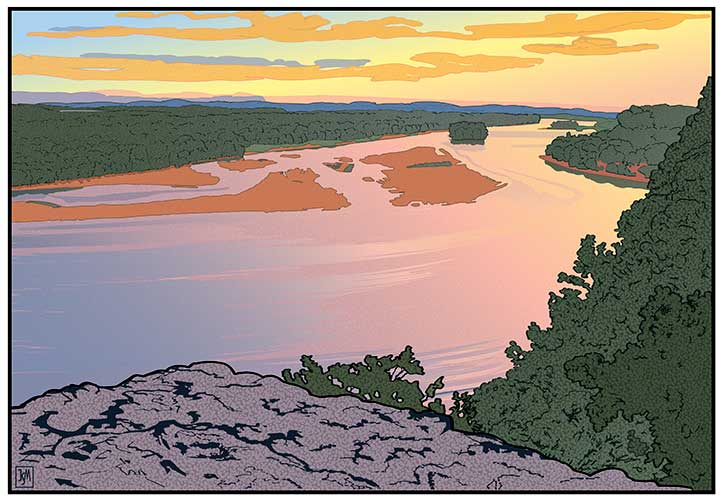 "<em>Down River from Ferry Bluff</em>, 22"" X 32.5"", Digital Print, 2014"